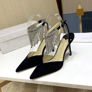 Buckle strap crystal tassel sandals silver black suede women sandals high heel pointed toe stiletto pumps slingback party shoes