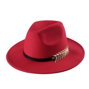 % 100 Yün Kadın Altın Yaprak Outback Geniş Brim Caz Godfather Cap Szie 56-58CM ile Gangster Trilby Fedora Hat Keçe