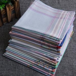 Verkaufen Sie europäische Art-3pcs Feine Einstecktuch aus reiner Baumwolle Männer Einstecktuch Hankies Plaid Tages Hankerchief freies schnelles Verschiffen