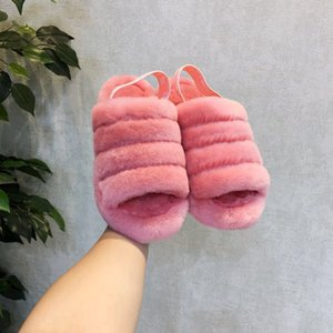 Frauen Indoor-Pelz-Flops Flip Warm Slides Schaffell Sliders Weibliche Home Winter Schafwolle Designer Sandalen
