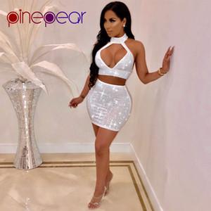 PinePear Yeni 2019 Kadınlar Parlak Rhinestone Elmas Elbise Seksi Hollow Out Kolsuz Backless Gece Dışarı Kıyafetler Parti Kulübü Vestidos T5190614