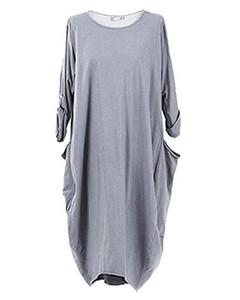 Zanzea kadınlar artı boyutu dress katı renk uzun kollu yuvarlak boyun cepler t gömlek dress