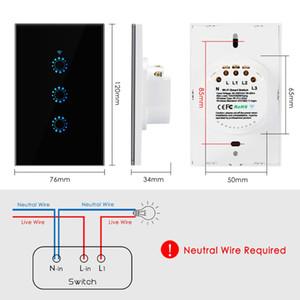 Wifi Duvar Dokunmatik Hassas Anahtarı Uzaktan Kumanda 1 2 3 Gang Kablosuz LED Işık Akıllı Dokunmatik Ekran Switch Cam ABD Standart