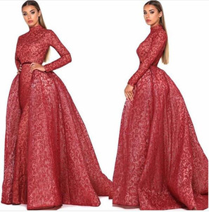 Dark Red Puffy Skirt Evening Formal Dresses with Overskirt 2019 Middle East Jewel Neck Muslim Arabic Long Sleeve Occasion Prom Gown