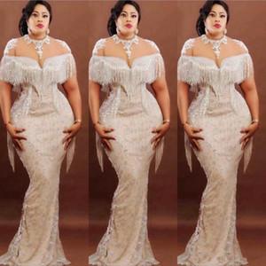 Plus Size della sirena dei vestiti da sera con il partito delle donne nappe Arabia Saudita pura del collo Appliques pizzo Prom Dress africano vestidos de fiesta