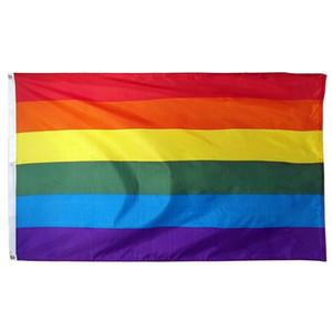 Gökkuşağı Banner Bayraklar 90x150cm Lezbiyen Gay Pride Polyester LGBT Bayrak Banner Bayraklar Parti Gökkuşağı Bayrağı CCA11852 200pcs Malzemeleri