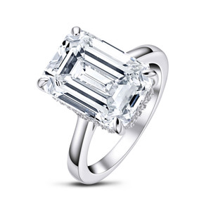 QYI 6 Wedding Ring Sona Emerald Cut 925 Sterling Silver Ring Women Engagement Jewelry Anniversary Gift