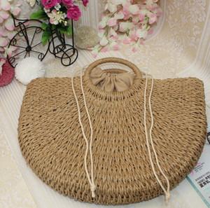 2020 Round moon shaped Straw Totes Bag Hand Woven Beach travel party Bag Large Bucket Summer Bags Women Natural Handbag FFA1906