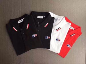 Lacoste 20SS haute qualité de Polos Hommes Lézards Polo Shirt des hommes solides eau de lavage coton Shorts Eté Homme Hommes Chemises Poloshirt WML522