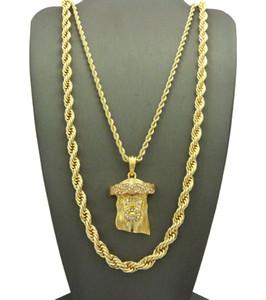 "HIP HIP ICED OUT JESUS Face PENDANT W / 24"", 10 мм 30 веревка цепи ожерелье набор 2 шт ожерелье набор рэппер аксессуары"