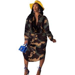 Camouflage Print Long Sleeve Shirt Dress Women Turn-down Collar Button Up Casual Dress Streetwear Loose Oversized Shirt