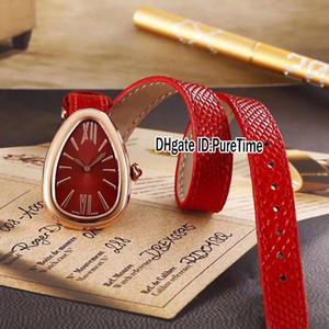 Nova Moda 102780 Rose Gold Dial Vermelho Swiss Quartz Womens Watch Senhoras Relógios Alongou Preto Vermelho Branco Verde Marrom Pulseira De Couro 38d4