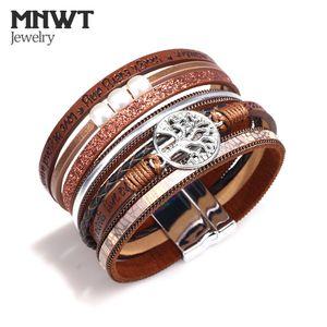 MNWT Fashion Multilayer Wristband Hollow Life Tree pelle stampata lettere bracciale donne stile bohemien Bracciali regali