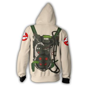 2019 Com Capuz Zip Up Hoodie Ghostbusters Ghostbusters 3D Impresso felpe casual hoodie do cerniera com Capuz Cosplay Zip