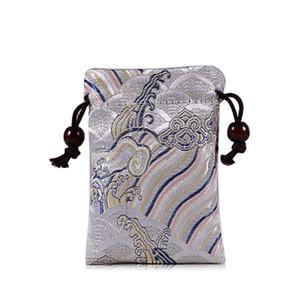 Espesar Mini bolsa de brocado de seda de agua de mar Bolsas de joyería de terciopelo Doble lazo Bolsa de viaje Bolsas de tela hechas a mano 1 unids