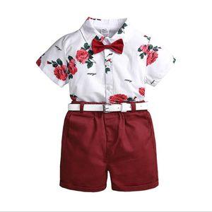 Tout-petit Enfant Bébé Garçon Gentleman Vêtements 2PCS Ensembles à manches courtes simple boutonnage Bow Shirts + Sash Shorts Bas 1-7Y