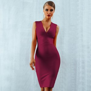 Seamyla Sexy Club Wear Party Dress 2019 New Arrivals Sleeveless Orange Wine Red Women Bandage Dresses Bodycon Vestidos Y200623