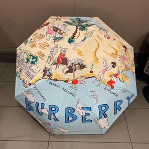 B Harfi ile moda Marka Şemsiye Baskı Siyah Yaz için Basit Plaj Baskı Şemsiye Siyah Kaplama Güneş Şemsiyesi Deri Şemsiye Kolu
