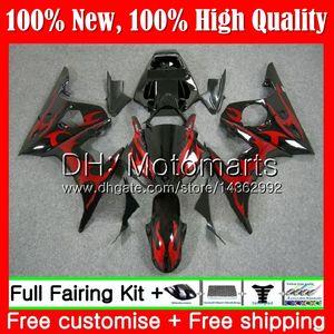 Karosserie für YAMAHA YZF600 YZF R6 03 04 05 YZFR6 03 04 05 89MT7 Rote Flammen YZF 600 R 6 YZF-R600 YZF-R6 2003 2004 Verkleidungskarosserie-Kit
