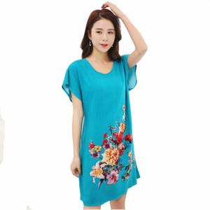 Lady Blue Cotton Soft Nachthemden Nachtwäsche chinesische Art-Druck Frauen-Nachthemd Blumen-Nachtkleid Startseite Wear One Size