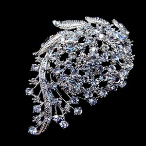 3 인치 빈티지 보이는 로듐 실버 색조 크리스탈 Diamante 청첩장 브로치
