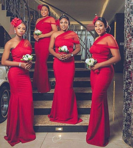African Bridesmaid Dresses Mermaid Prom Dresses One shoulder Plus Size Evening Guest Dress Sweep Train Maid Of Honor Gowns B50