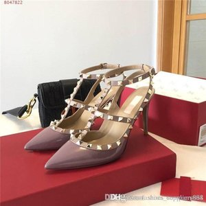 Spring and summer patent glossy high-heeled sandals Pointed stiletto business dress shoes with rivet trim,Complete set of shoe box