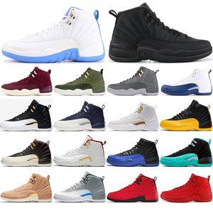 Nike AIR Jordan 12 ücretsiz çorap ile 12 12s Basketbol Ayakkabı Michigan MASTER Vinterize Üniversitesi Tasarımcı Ayakkabı Spor Sneakers Eğitmenler boyutu 40-47 mens
