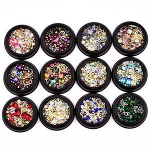 Nail Art Decoração Charme Gem Beads Rhinestone oco Shell Flake Flatback Rivet Mixed brilhante Glitter 3D DIY Acessórios DHL grátis