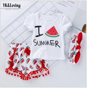 어린이 옷 2020 여름 새로운 아기 디자이너 소녀 해변 반소매 T 셔츠 수박 반바지 아이들에게 세 조각을 헤어 밴드