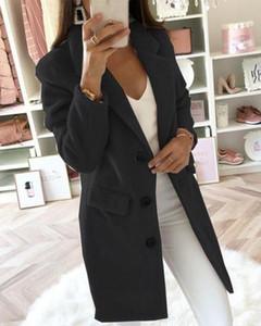 Ninimour Kadınlar Moda Şık Şal Yaka Düğme Coat Bayanlar Casual Uzun Kollu Katı Kıyafetleri Dış Giyim