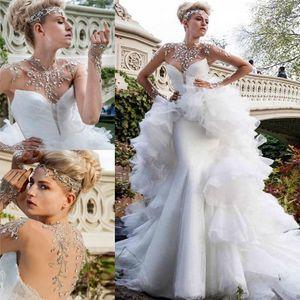 Luxe strass perles Robes de mariée 2020 Sheer col haut Illusion manches longues sirène nuptiale robe de bal avec Vestidos Ceinture Serre