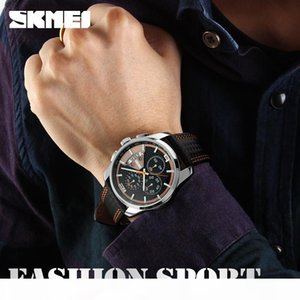 SKMEI Men Chronograph Watch Sport Watch Leather Quartz-Watch Waterproof Clock Date Men's Wristwatch Relogio Masculino 9106
