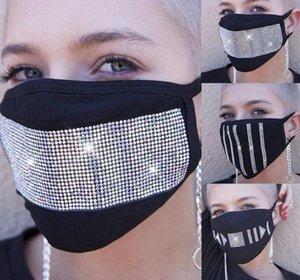 8styles Diamond Black Mask хлопок горный хрусталь звезды маски для лица взрослых женщин Washable Club Party Маски защитные Проектировщик маска GGA3403-5