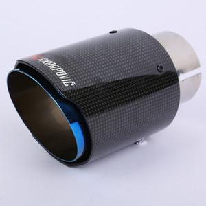 Universal Akrapovic Carbon Auto Auspuff Tip Schwarz glänzend Twill Carbon Fiber Cover + Blau beschichtetem Edelstahl