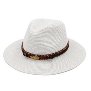 2020 Sommer Sonnenhut im Freien Street Party Beach Sun Cap Panama Weit Floppy Brim Hat Unisex-Liebhaber Herren Chapeau Plastic Straw Größe 56-58cm