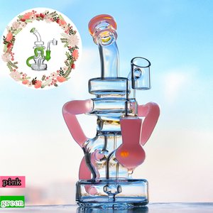 7.8 inch Pink Green Fab Egg Double Recycler Bongs Glass Bong Unique Oil Dab Rigs 14mm Joint Water Pipes With Heady Bowl