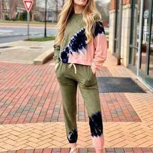 2020 New Women's Tie-Dye Stripe Color Home Dress Print Two-Piece Women's Summer Long Sleeve Pants Home Suit