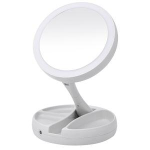 Portátil LED Iluminado Espelho de Maquiagem Vaidade Compacto Espelho de bolso Espelhos de Maquiagem Cosméticos Vaidade 10X Lupas VT0005-1