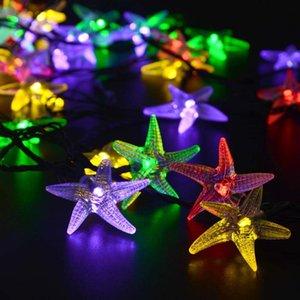 LED Güneş Işıklar Su geçirmez Denizyıldızı Kabuklu Yıldız Noel Garland Tatil Yatak Odası Otel Dekoratif Dize Işıklar Açık