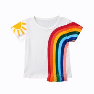 جديد عارضة الاطفال اطفال بنات ملابس قوس قزح ملون تي شيرت شرابة خليط القطن القميص بلايز