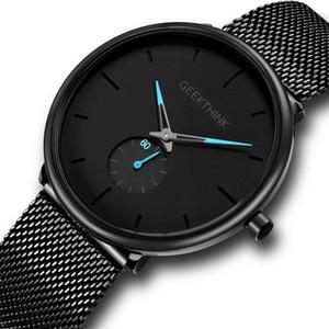 Geekthink быстрой продажи Amazon eBay внешнеторговый мужские часы 2-контактный половина чистой нержавеющей стали мужские часы 8011