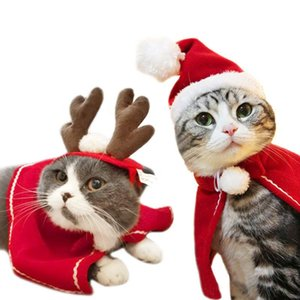 New Pet Cat Dog Puppy Scarf Hat Cloak Headband Christmas Clothes Costumes Gift New Year Santa Red Pet Costume Winter Clothes