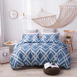 Juego de funda nórdica Juego de cama Starry sky ropa de cama de flores azul gris 3 / 4pcs / set Sábana de cama pastoral funda nórdica geométrica