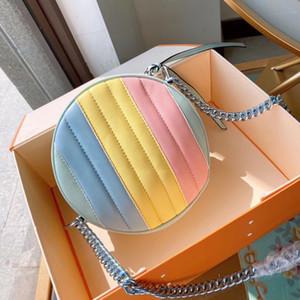 Womens lusso arcobaleno circolare la Designer famoso corpo croce Lettera signore pura di colore del messaggero borsa tracolla Raccoglitore di modo caldo
