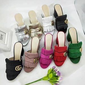 Nouvelle mode femmes chunky talons pantoufles chaussures de plage en cuir chaussures de soirée femmes sandales peep toe L4114