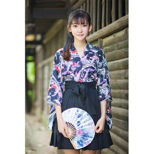 Japanese Traditional Fashion Kimono Dress for Women Squid Flag Printed Haori Retro Oriental Party Photography Costume