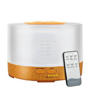 700 ml Aroma difusor de aceites esenciales purificador de aire Grano de madera humidificador ultrasónico con 7 cambio de color de luz LED