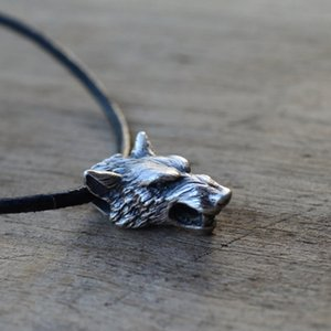 Fashion Pendants Viking Silver Wolf Head Pendant Necklace Vintage Animal Jewelry Pendants Jewelry & Accessories