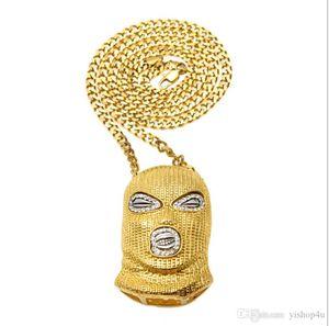 Mens Punk Style 18K Alloy Gold Silver PlaMask Head Charm Pendant Hip Hop CSGO Pendant Necklace Cuban Chain